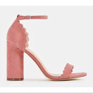 Pink Mauve Scalloped Heeled Sandal JustFab